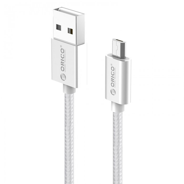 Orico кабел Cable - USB AM to Micro BM 1.0m, 2.4A charging, silver - EDC-10-SV